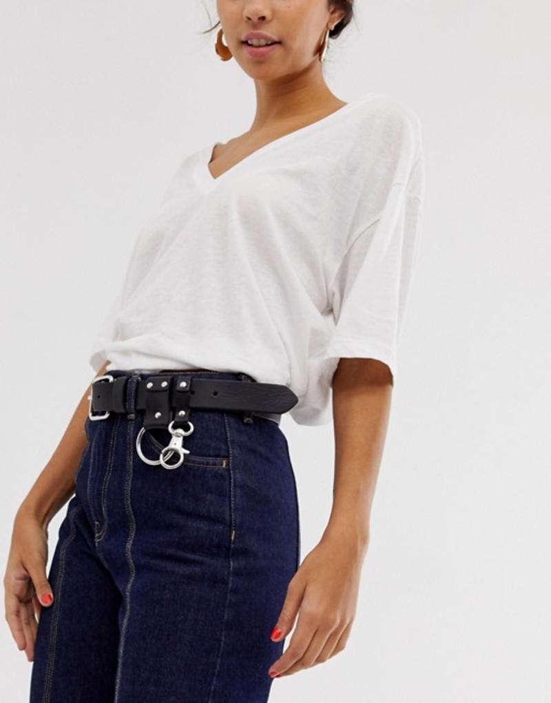 ウィークデイ レディース ベルト アクセサリー Weekday leather buckle belt in black Black