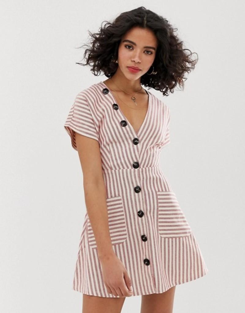 ムーンリバー レディース ワンピース トップス Moon River stripe skater dress with bow front Red stripe