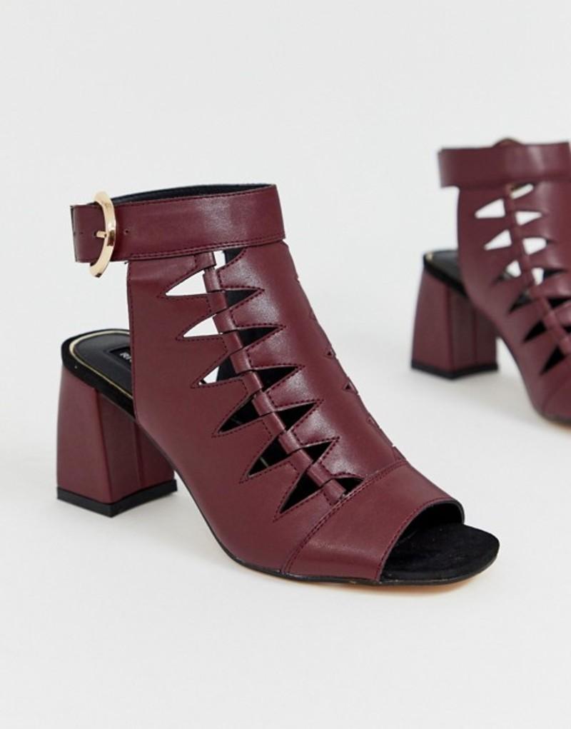 リバーアイランド レディース ブーツ・レインブーツ シューズ River Island shoe boots with cut out in burgundy Burgundy