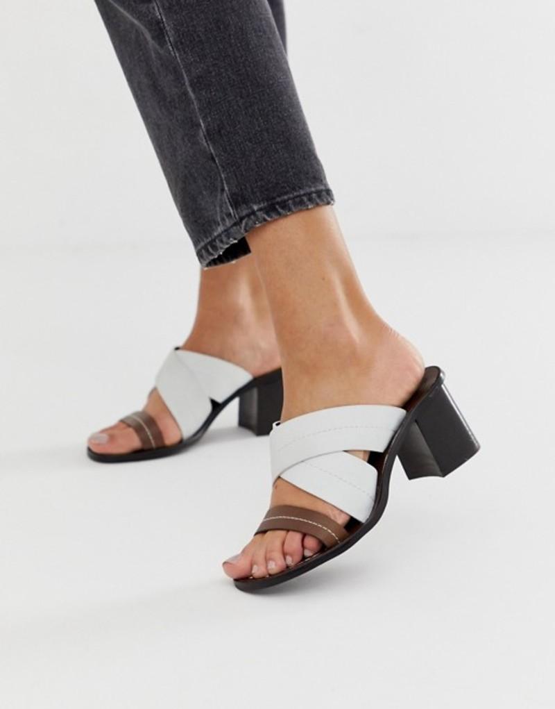 リバーアイランド レディース サンダル シューズ River Island leather heeled sandals with cross front in white Choc ecru