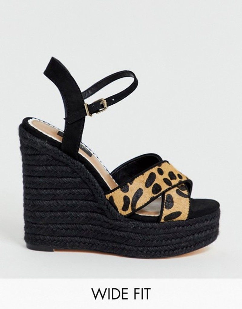 リバーアイランド レディース サンダル シューズ River Island Wide Fit wedge sandals with stud detail in leopard print Leopard