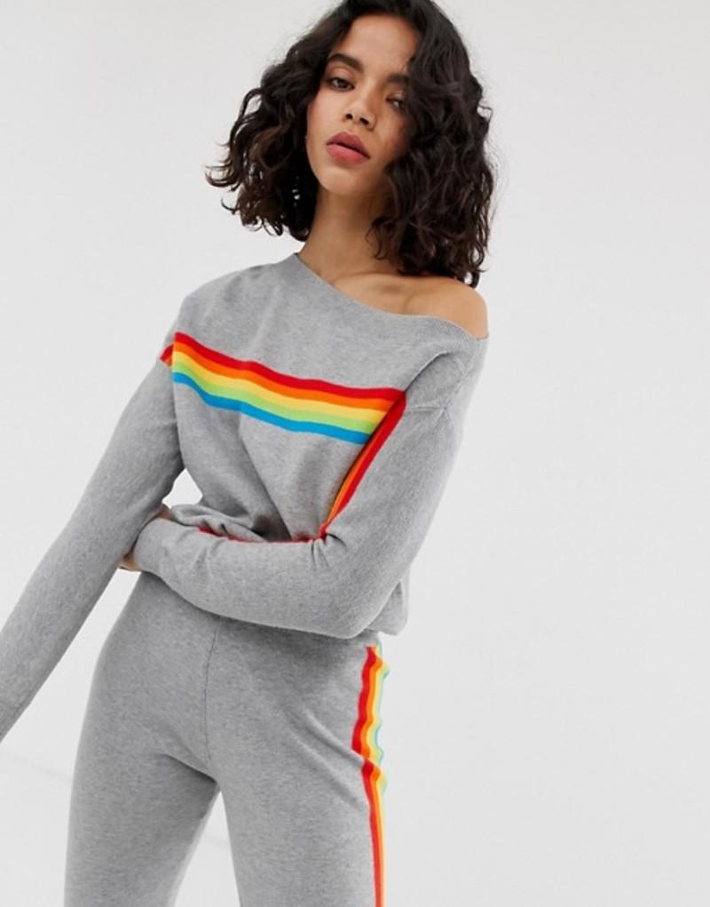 リバーアイランド レディース ニット・セーター アウター River Island sweatshirt top with rainbow stripe in gray Grey print