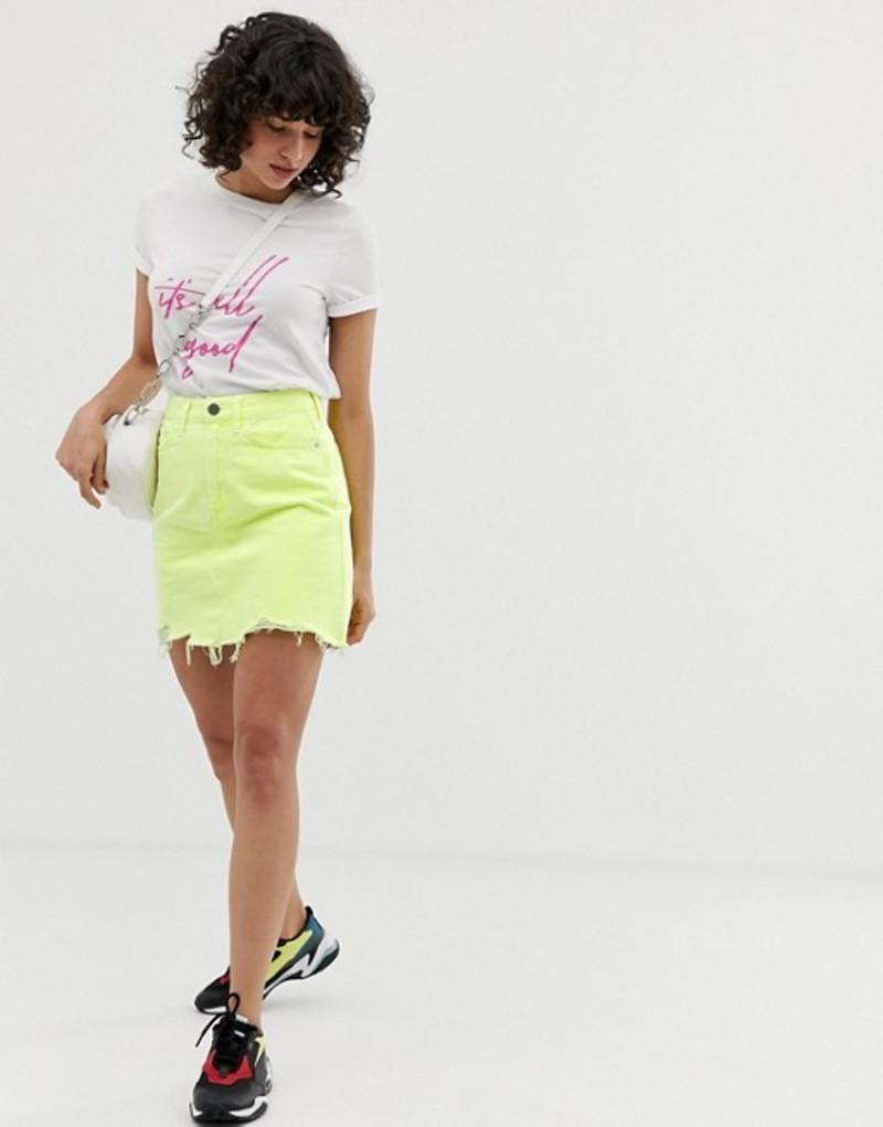 リバーアイランド レディース スカート ボトムス River Island denim mini skirt in neon yellow Yellow