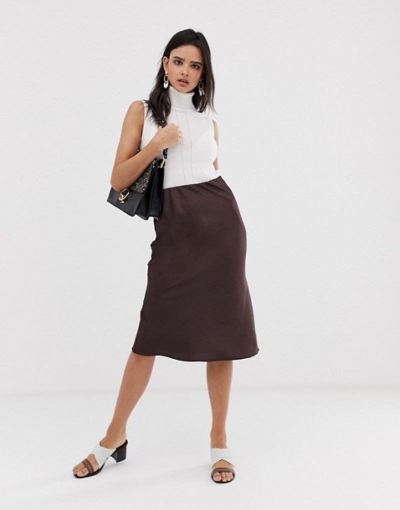 リバーアイランド レディース スカート ボトムス River Island bias cut midi slip skirt in chocolate Chocolate