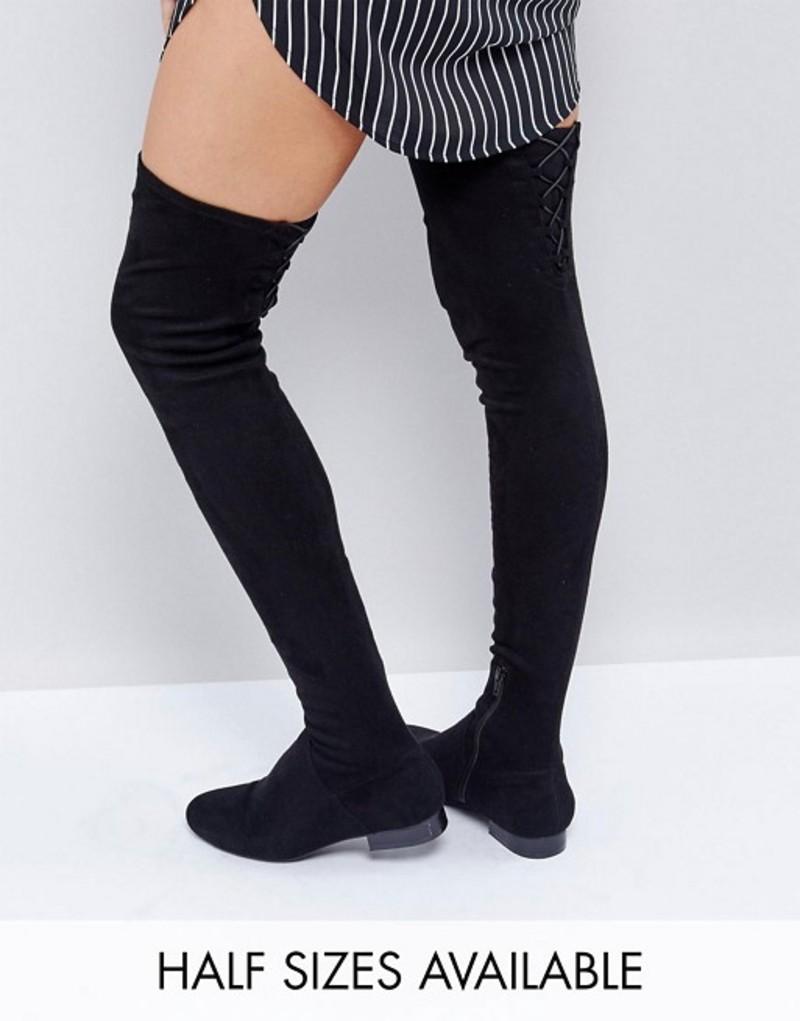 エイソス レディース ブーツ・レインブーツ シューズ ASOS KASBA WIDE LEG Flat Over The Knee Boots Black