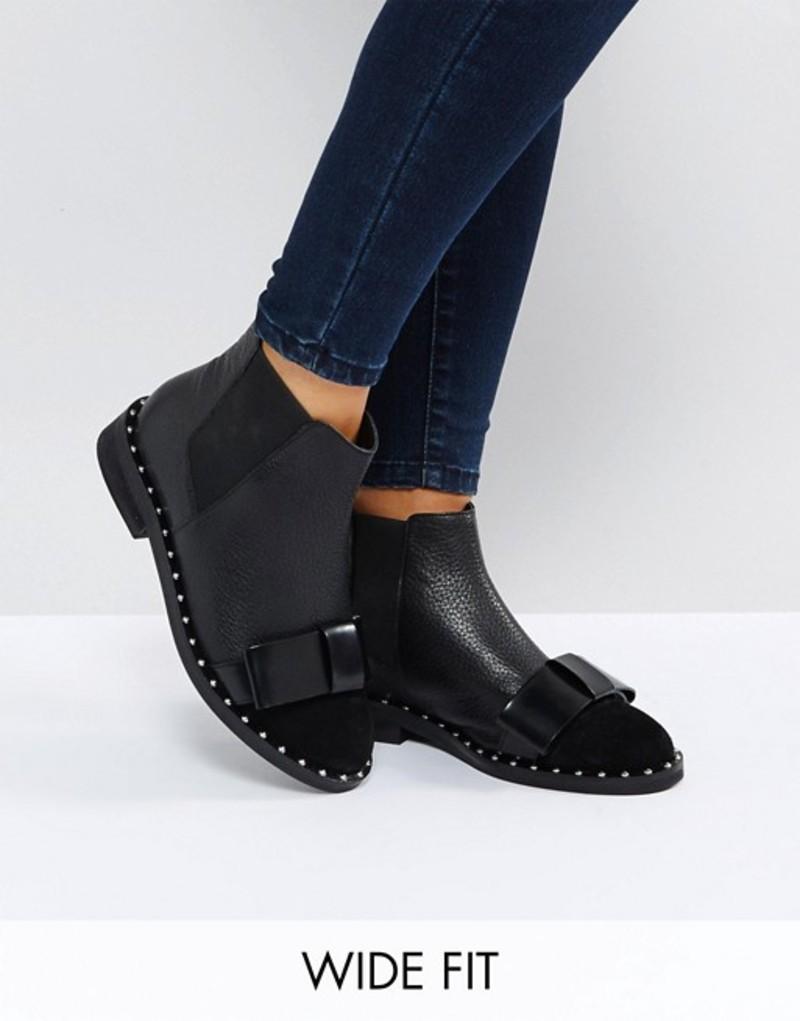 エイソス レディース ブーツ・レインブーツ シューズ ASOS AUBREY Wide Fit Leather Bow Ankle Boots Black