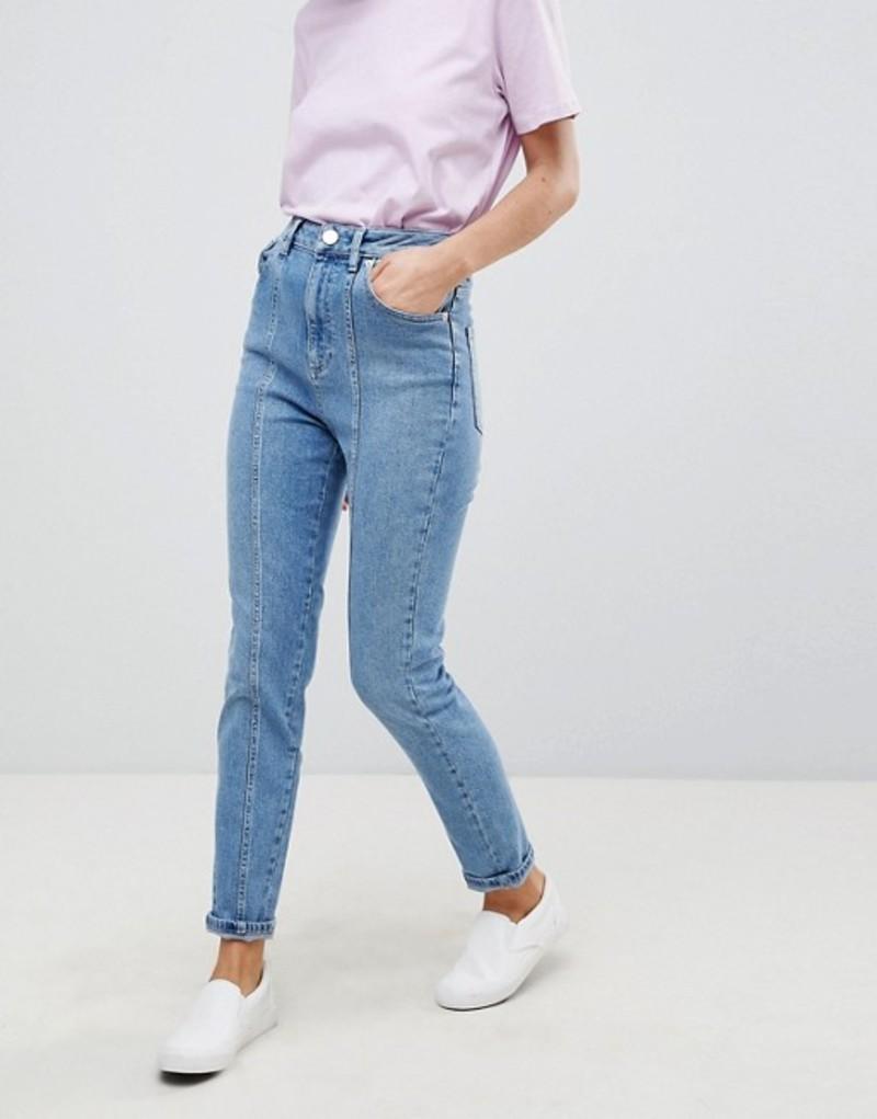 エイソス レディース デニムパンツ ボトムス ASOS DESIGN Farleigh high waist slim mom jeans with panel seams in mid wash Mid wash blue