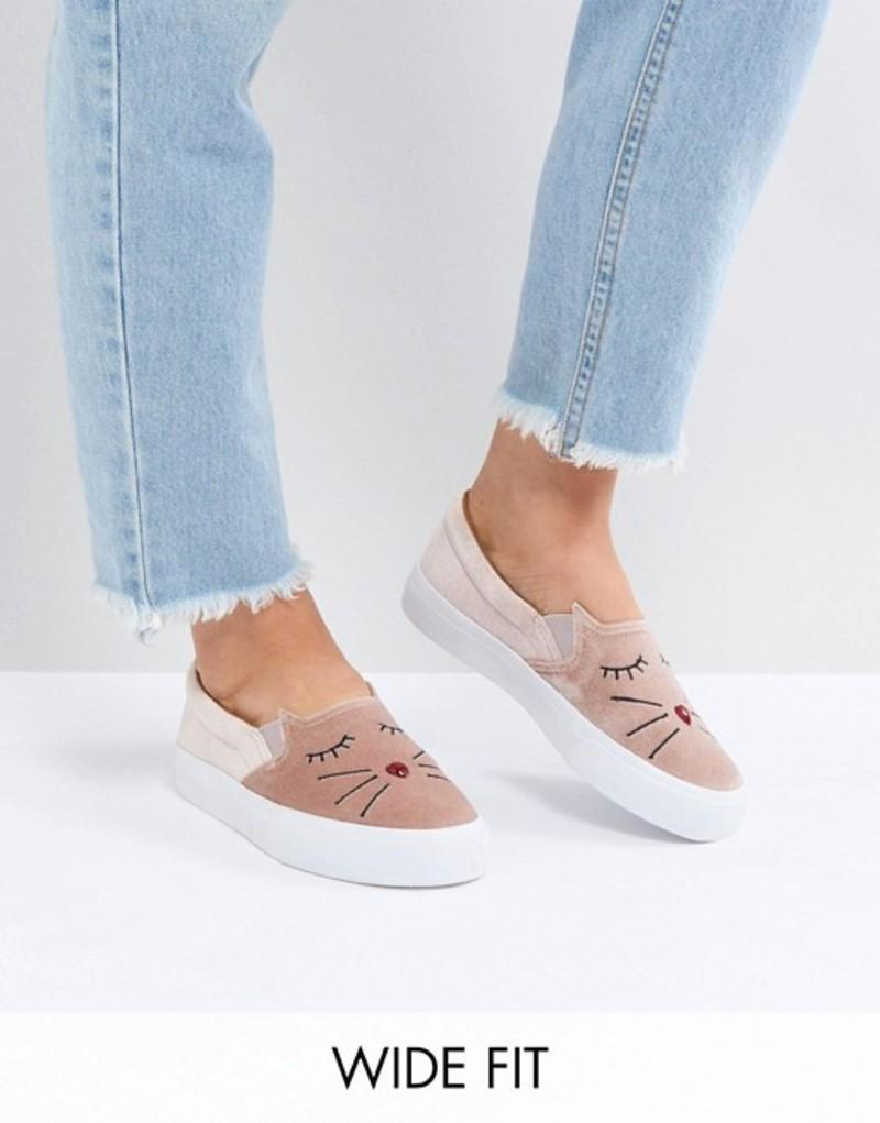 エイソス レディース スニーカー シューズ ASOS DELICATE Wide Fit Embroidered Cat Sneakers Pink