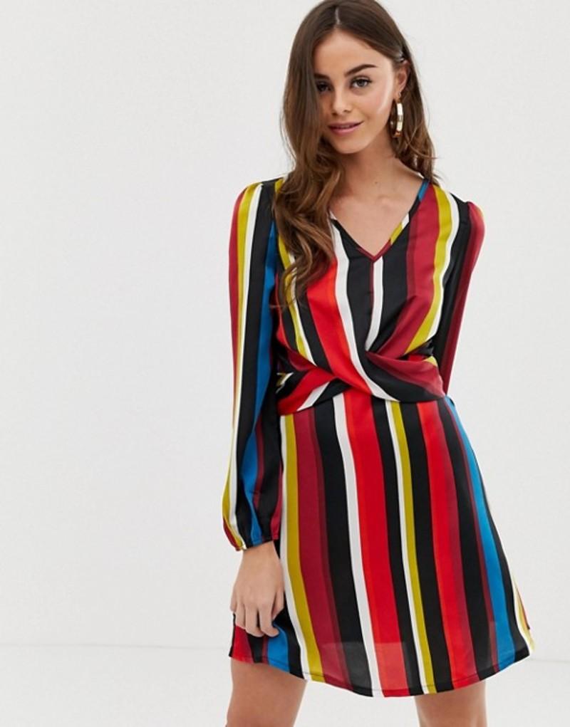 ブーフー レディース ワンピース トップス Boohoo twist detail mini dress in stripe Stripe