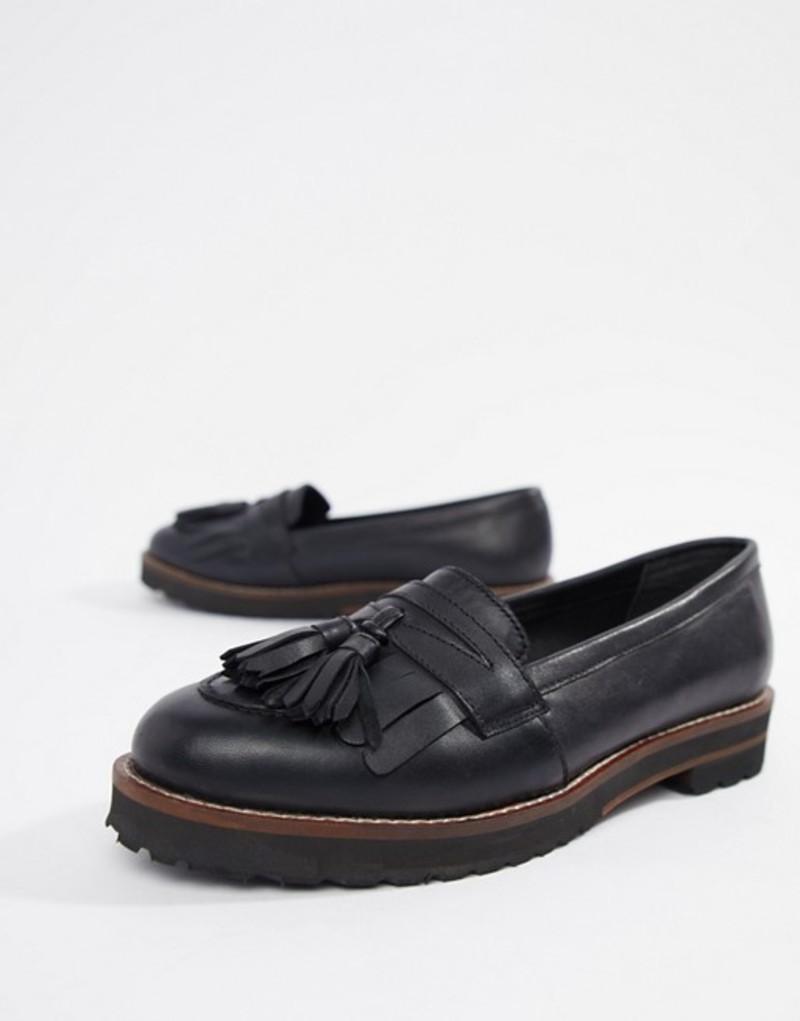 エイソス レディース パンプス シューズ ASOS DESIGN Maxfield leather fringed loafers Black