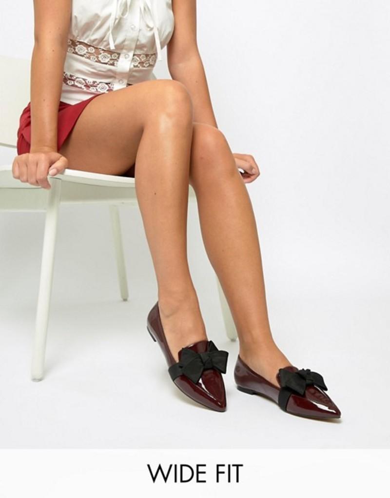 エイソス レディース パンプス シューズ ASOS DESIGN Wide Fit Ludo ballet flats loafers Oxblood