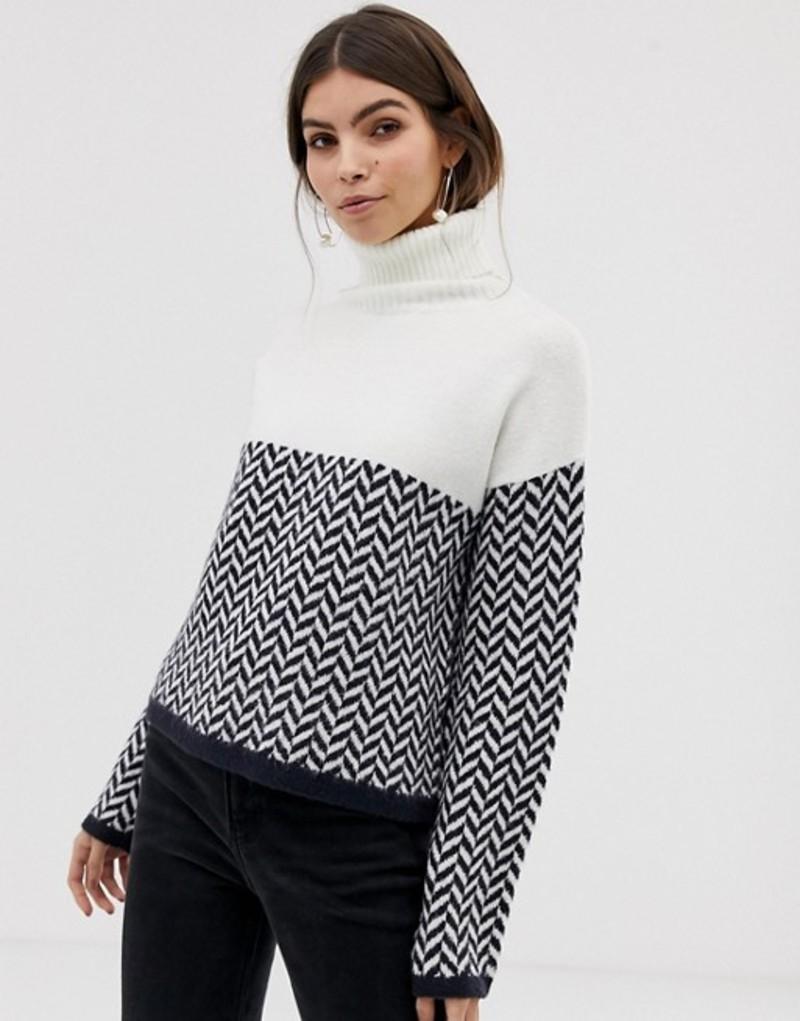 エイソス レディース ニット・セーター アウター ASOS DESIGN roll neck sweater with mono chevron pattern Mono