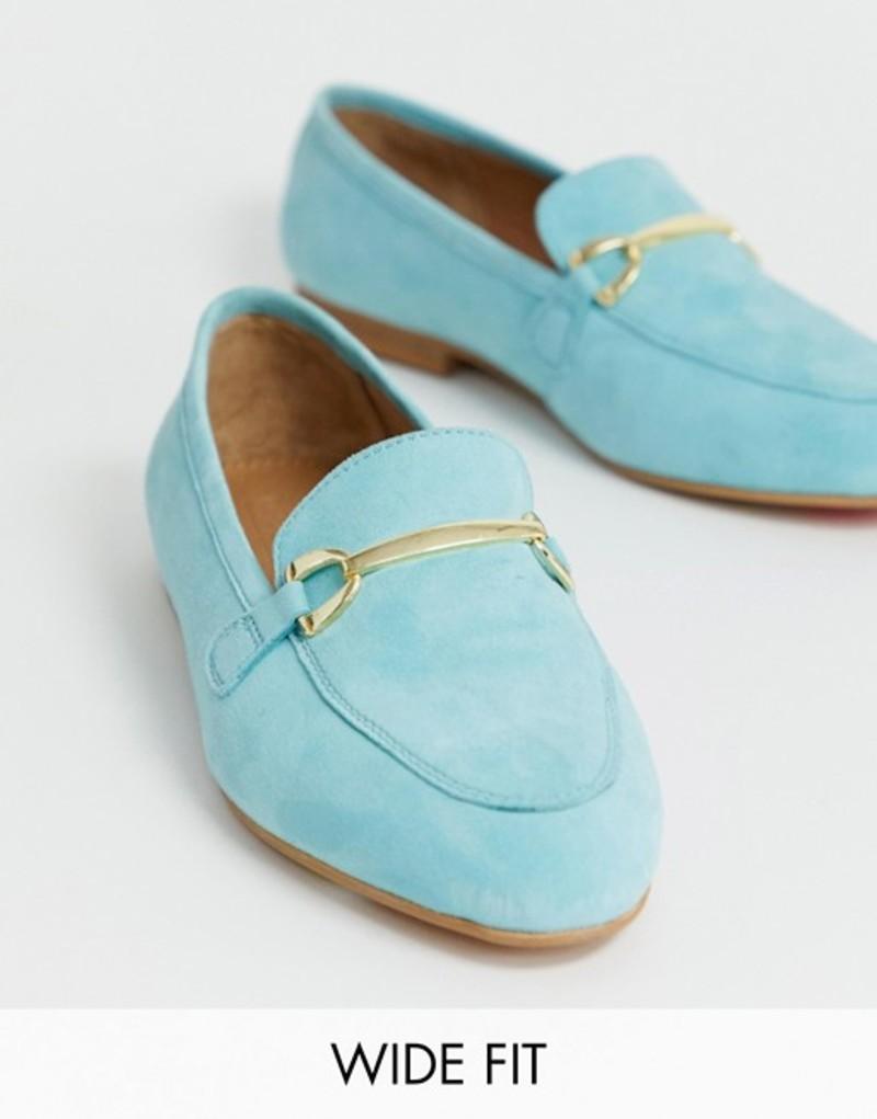 エイソス レディース パンプス シューズ ASOS DESIGN Wide Fit Moment suede loafers in blue Blue