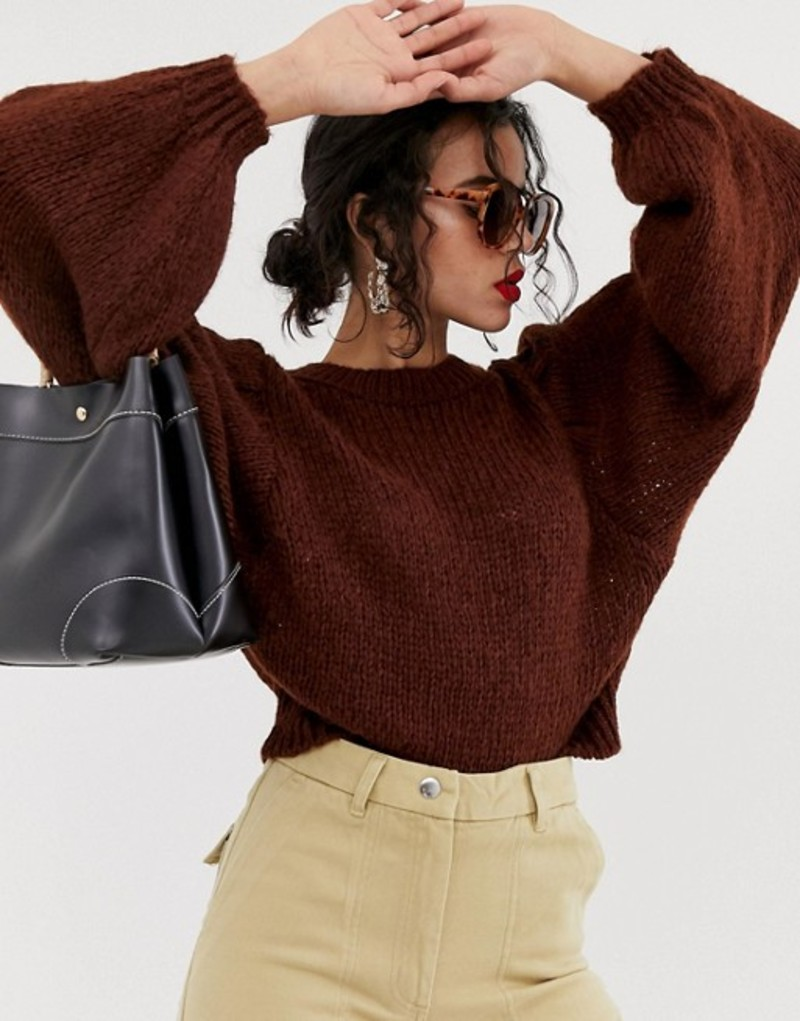 エイソス レディース ニット・セーター アウター ASOS DESIGN sweater in lofty yarn with volume sleeve Chocolate