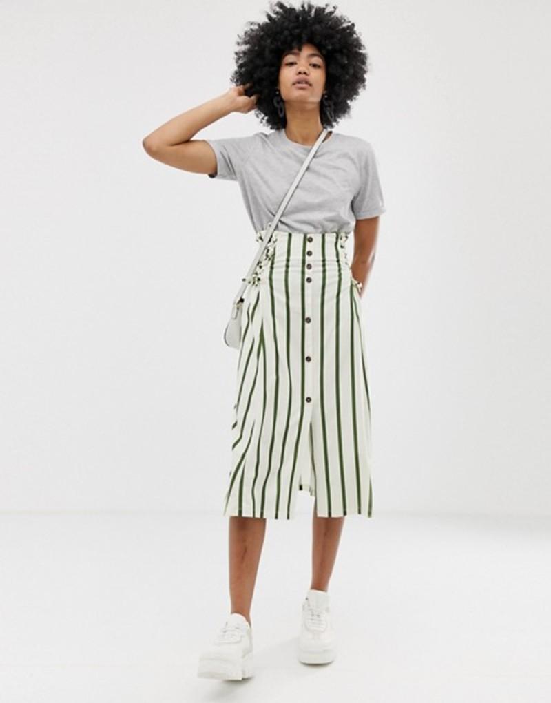 エイソス レディース スカート ボトムス ASOS DESIGN green stripe midi skirt with elastic shirred waistband Green / cream