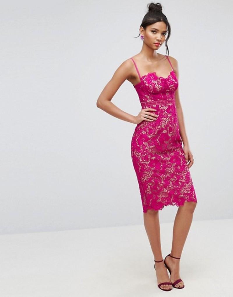 エイソス レディース ワンピース トップス ASOS Lace Contrast Midi Pencil Dress Hot pink