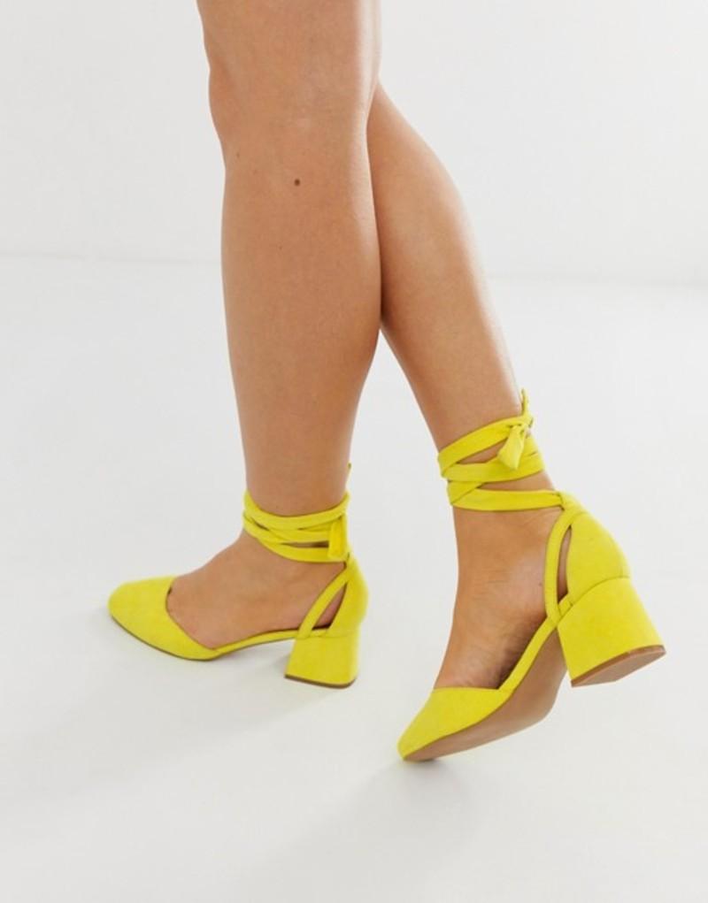 エイソス レディース ヒール シューズ ASOS DESIGN Wide Fit Windmill tie leg mid heels Yellow