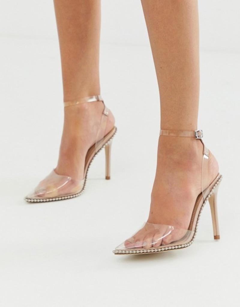 エイソス レディース ヒール シューズ ASOS DESIGN Pixie pointed high heels with studs Beige patent/clear