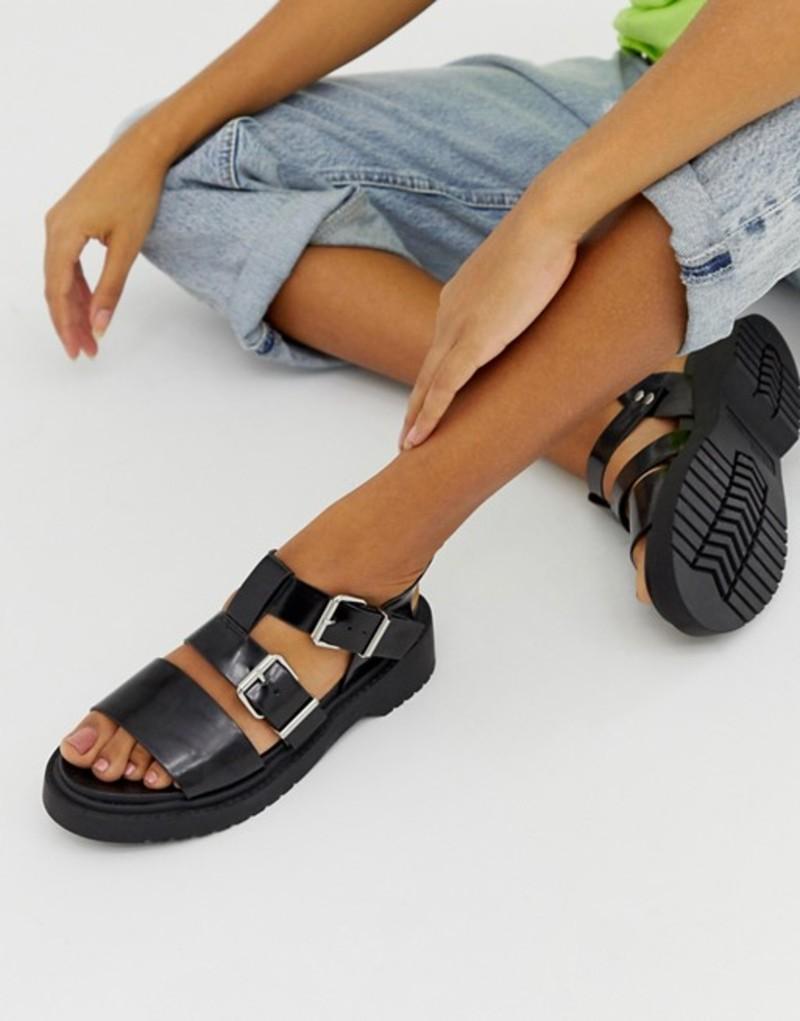 エイソス レディース サンダル シューズ ASOS DESIGN Fate chunky flat sandals Black