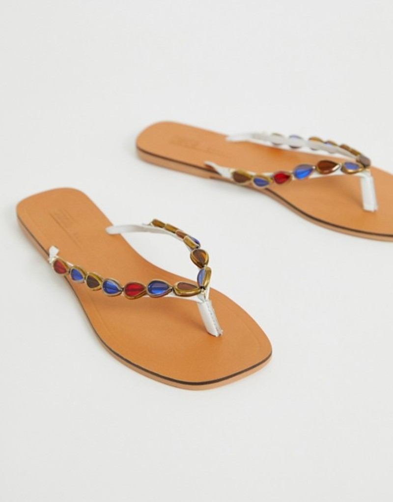 エイソス レディース サンダル シューズ ASOS DESIGN Fitzrovia leather embellished flip flops White