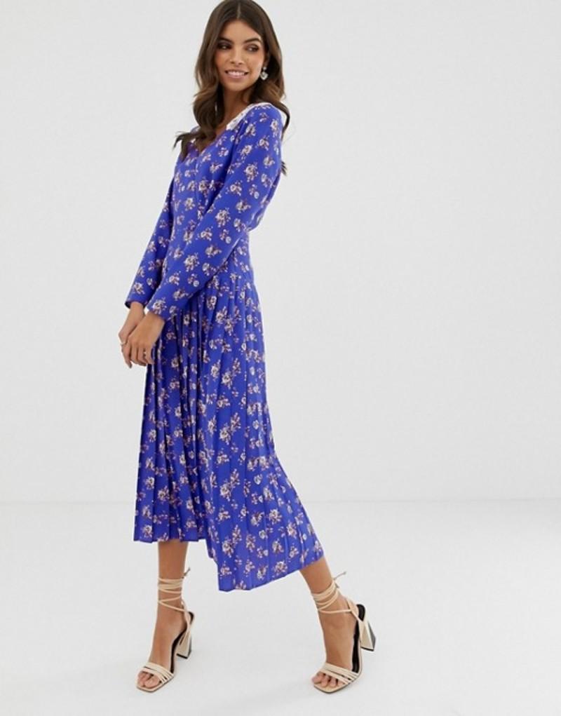 エイソス レディース ワンピース トップス ASOS DESIGN pleated maxi dress in ditsy floral print with lace collar Blue based floral