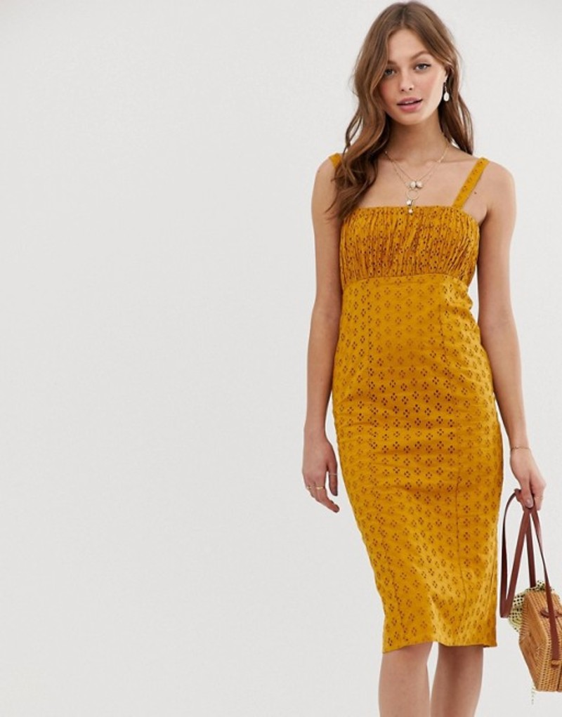 エイソス レディース ワンピース トップス ASOS DESIGN broderie midi sundress with ruched bust Mustard