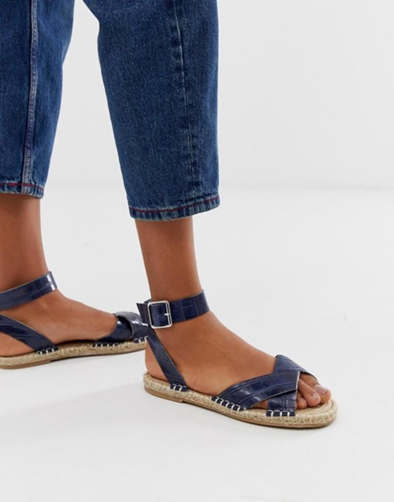エイソス レディース サンダル シューズ ASOS DESIGN Jiana espadrille sandals in croc Navy croc