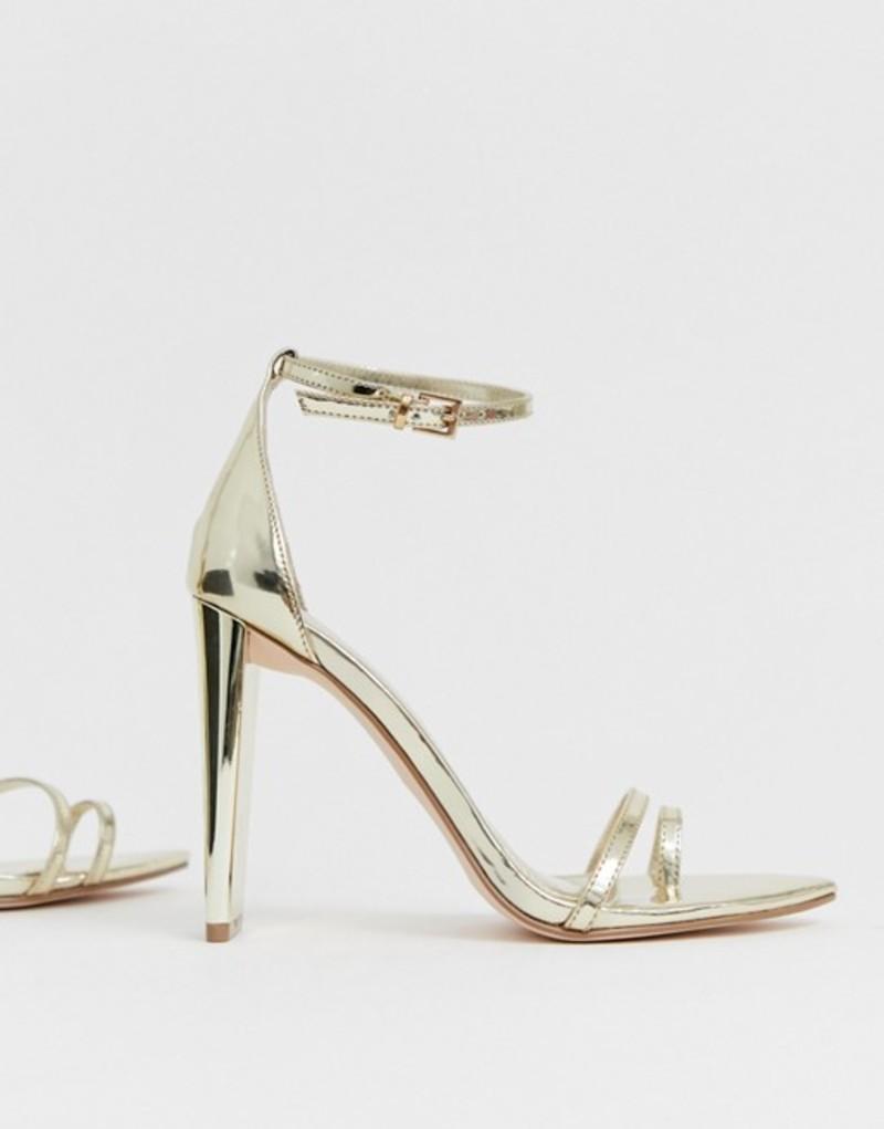 エイソス レディース ヒール シューズ ASOS DESIGN Harper barely there block heeled sandals in gold Gold