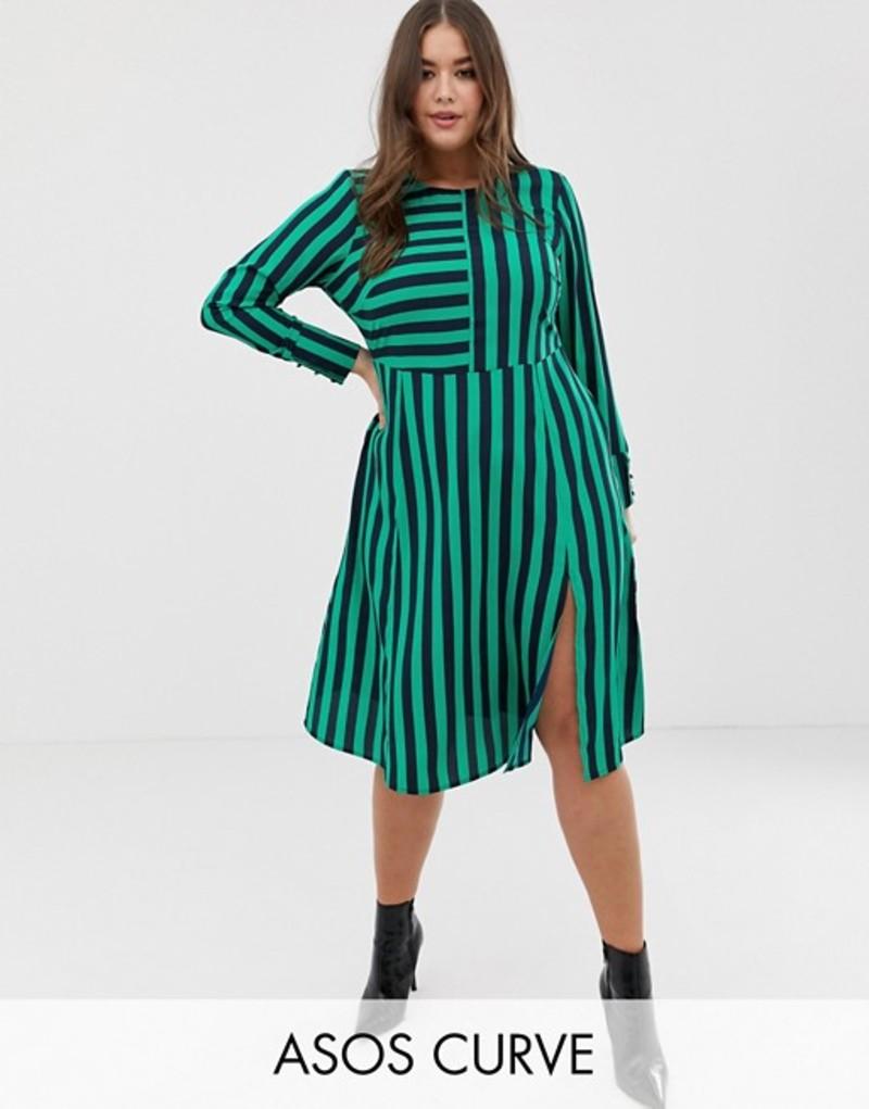 エイソス レディース ワンピース トップス ASOS DESIGN Curve midi dress in cut about stripe Stripe