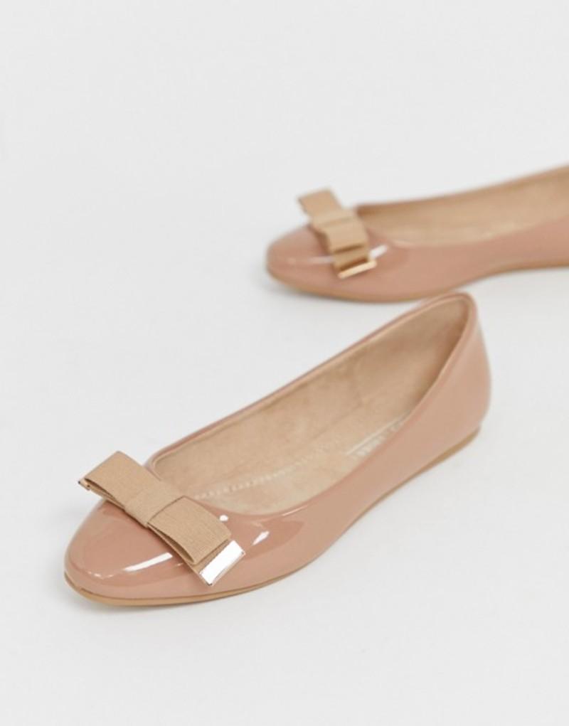 エイソス レディース パンプス シューズ ASOS DESIGN Lexy bow ballet flats Warm beige