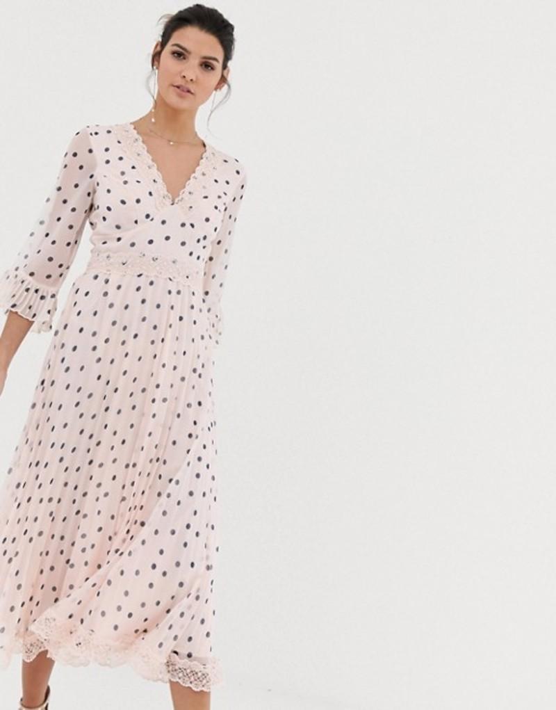 エイソス レディース ワンピース トップス ASOS DESIGN pleated midi dress with lace inserts in polka dot Spot print