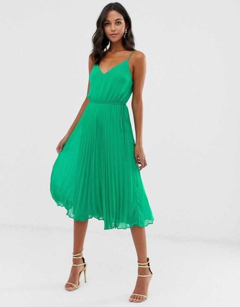 エイソス レディース ワンピース トップス ASOS DESIGN pleated cami midi dress with drawstring waist Green