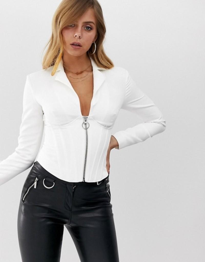 エイソス レディース ジャケット・ブルゾン アウター ASOS DESIGN zip front corset blazer in ivory Ivory