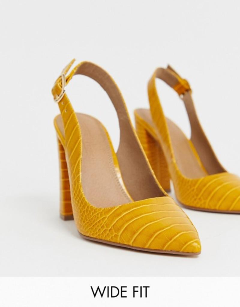 エイソス レディース ヒール シューズ ASOS DESIGN Wide Fit Penley slingback high heels in croc print Mustard croc
