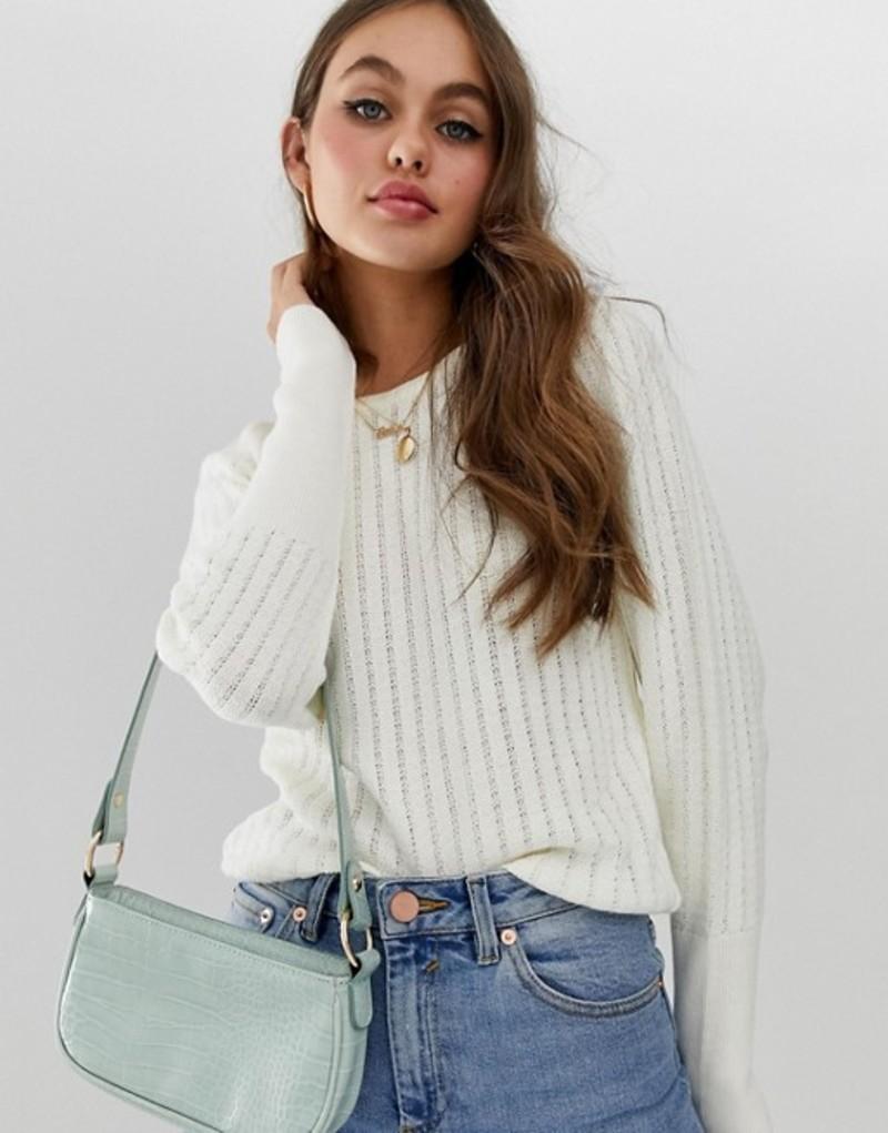 エイソス レディース ニット・セーター アウター ASOS DESIGN stitch detail sweater with puff sleeve Cream