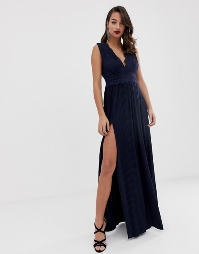 エイソス レディース ワンピース トップス ASOS DESIGN Premium Lace Insert Pleated Maxi Dress Navy