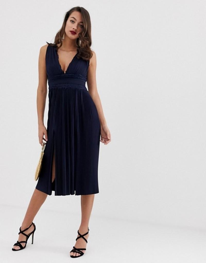 エイソス レディース ワンピース トップス ASOS DESIGN Premium Lace Insert Pleated Midi Dress Navy