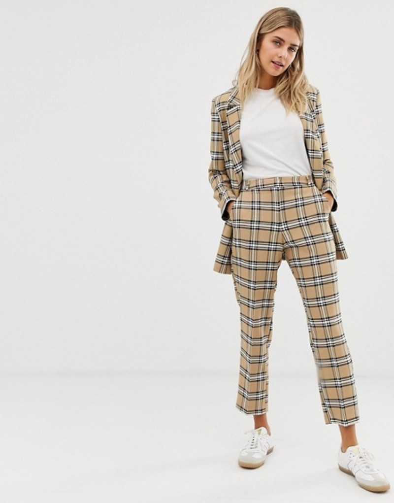エイソス レディース カジュアルパンツ ボトムス ASOS DESIGN slim suit pants in brown check Check
