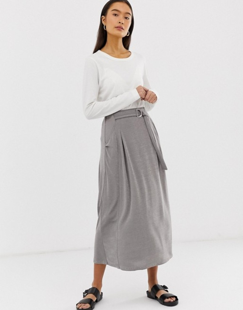 エイソス レディース スカート ボトムス ASOS DESIGN wrap D-ring midi skirt in jersey with pockets Grey
