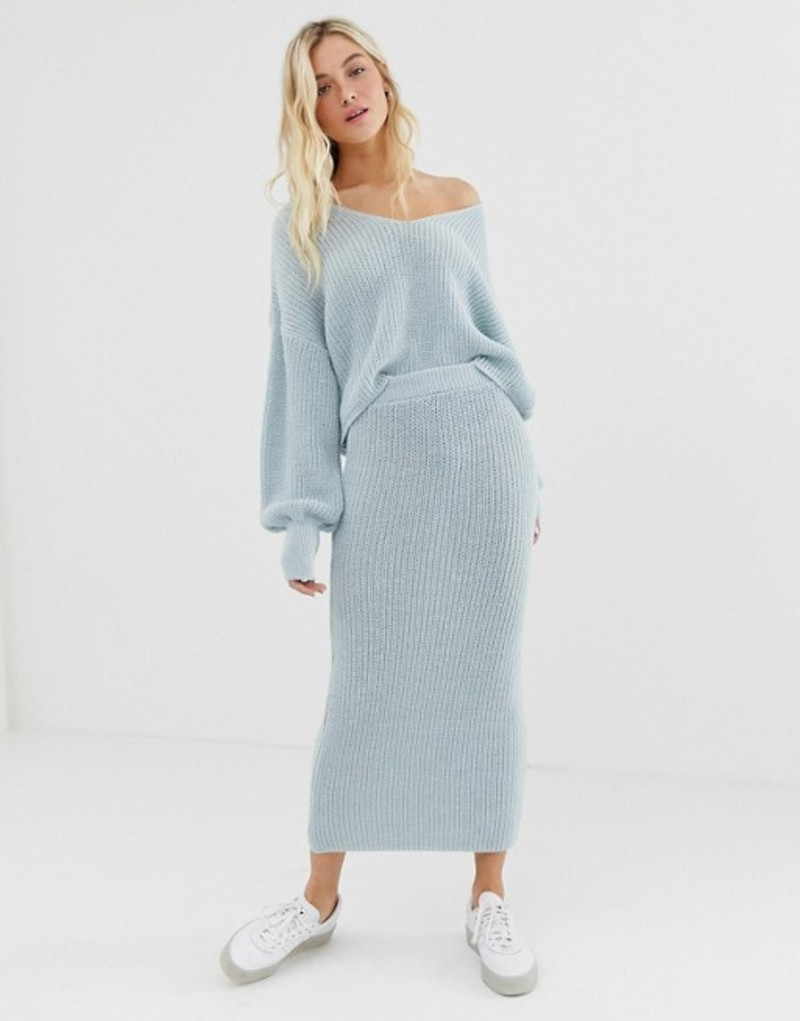エイソス レディース スカート ボトムス ASOS DESIGN two-piece skirt in ribbed knit Pale blue