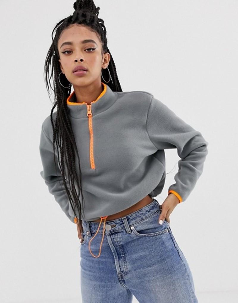 エイソス レディース ニット・セーター アウター ASOS DESIGN fleece with contrast zip Grey