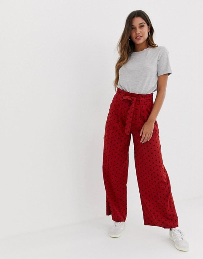 エイソス レディース カジュアルパンツ ボトムス ASOS DESIGN linen wide leg pants with paperbag waist and belt in spot Spot