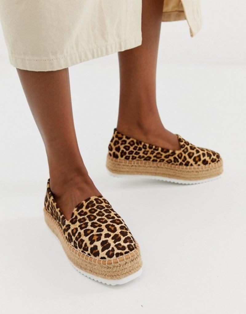 エイソス レディース サンダル シューズ ASOS DESIGN Jenna leather leopard flatform espadrilles Leopard pony