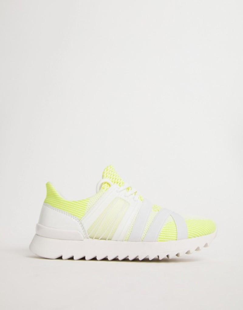 エイソス レディース スニーカー シューズ ASOS DESIGN Disqualify sneakers White/yellow knit