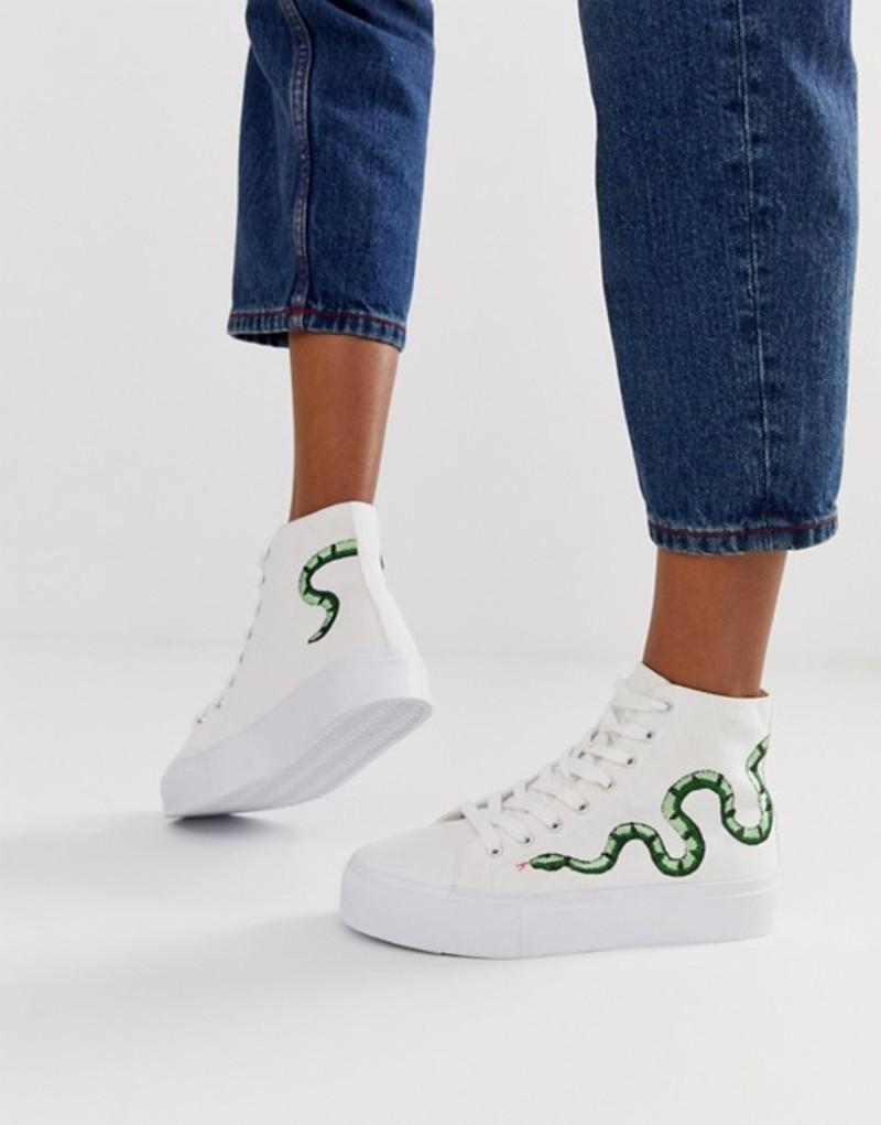 エイソス レディース スニーカー シューズ ASOS DESIGN Dakota chunky flatform hi top sneakers with embroidery White