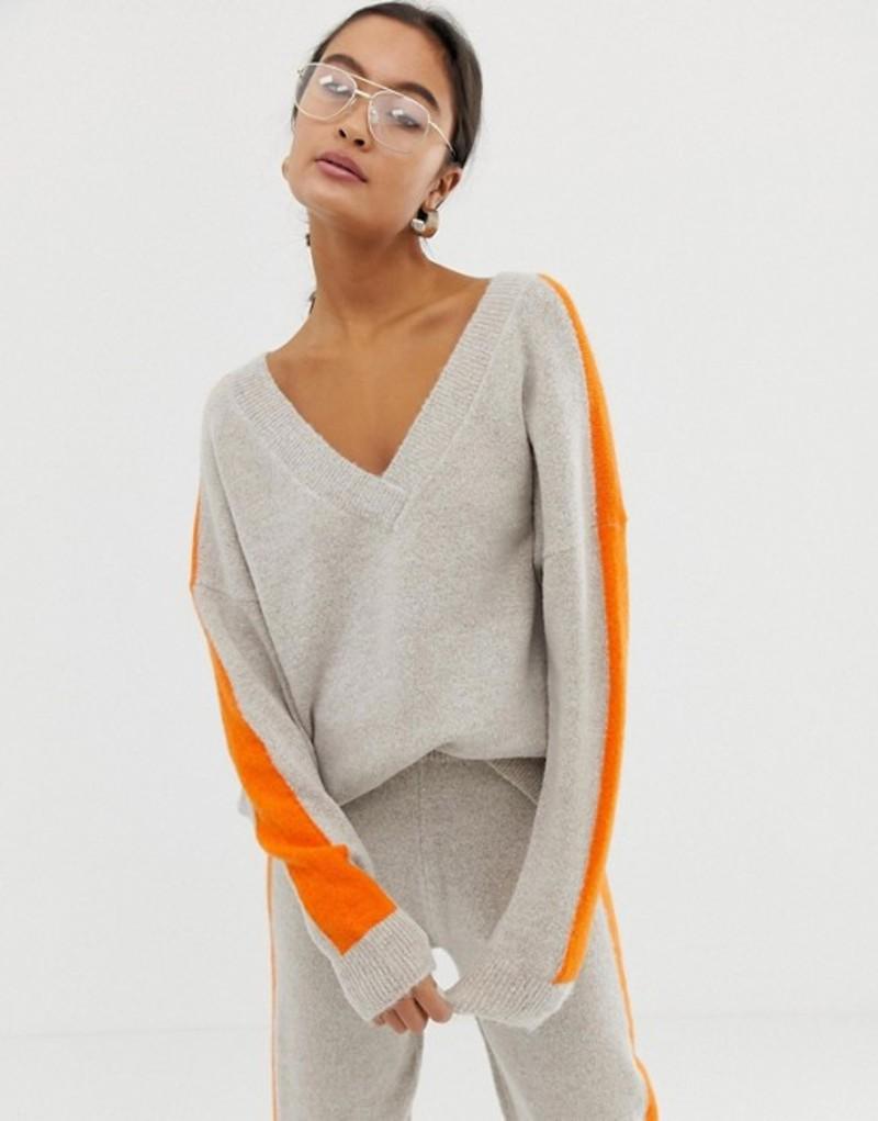 エイソス レディース ニット・セーター アウター ASOS DESIGN two-piece sweater with tipping Stone