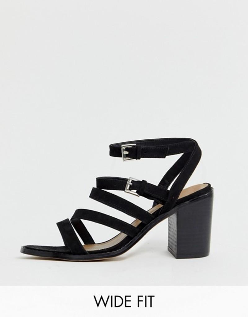 エイソス レディース サンダル シューズ ASOS DESIGN Wide Fit Tycoon heeled sandals Black