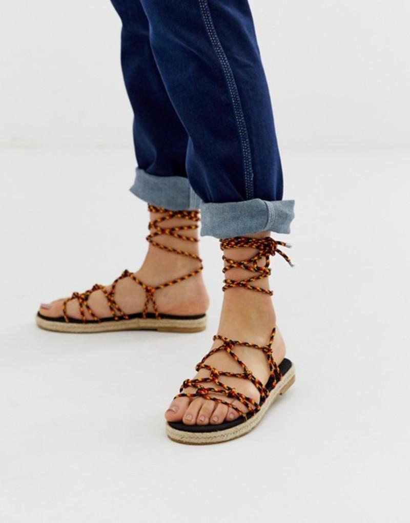 エイソス レディース サンダル シューズ ASOS DESIGN Jester knotted espadrille sandals Red