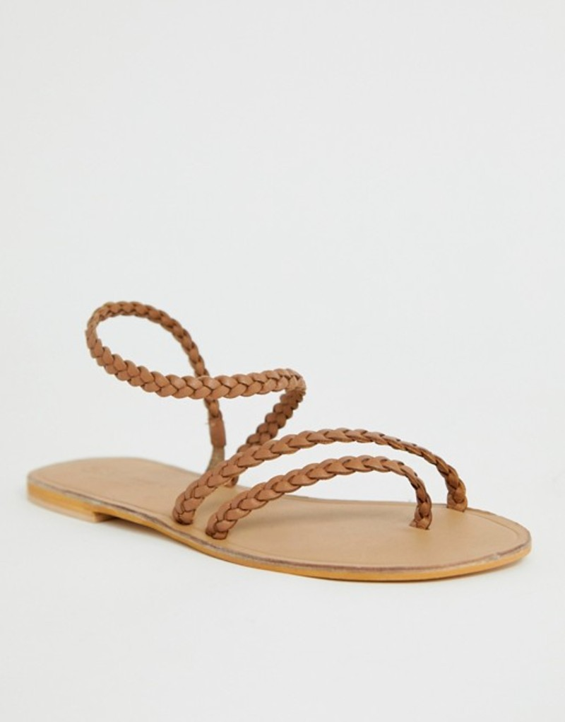 エイソス レディース サンダル シューズ ASOS DESIGN Forecast leather asymetric flat sandals Tan