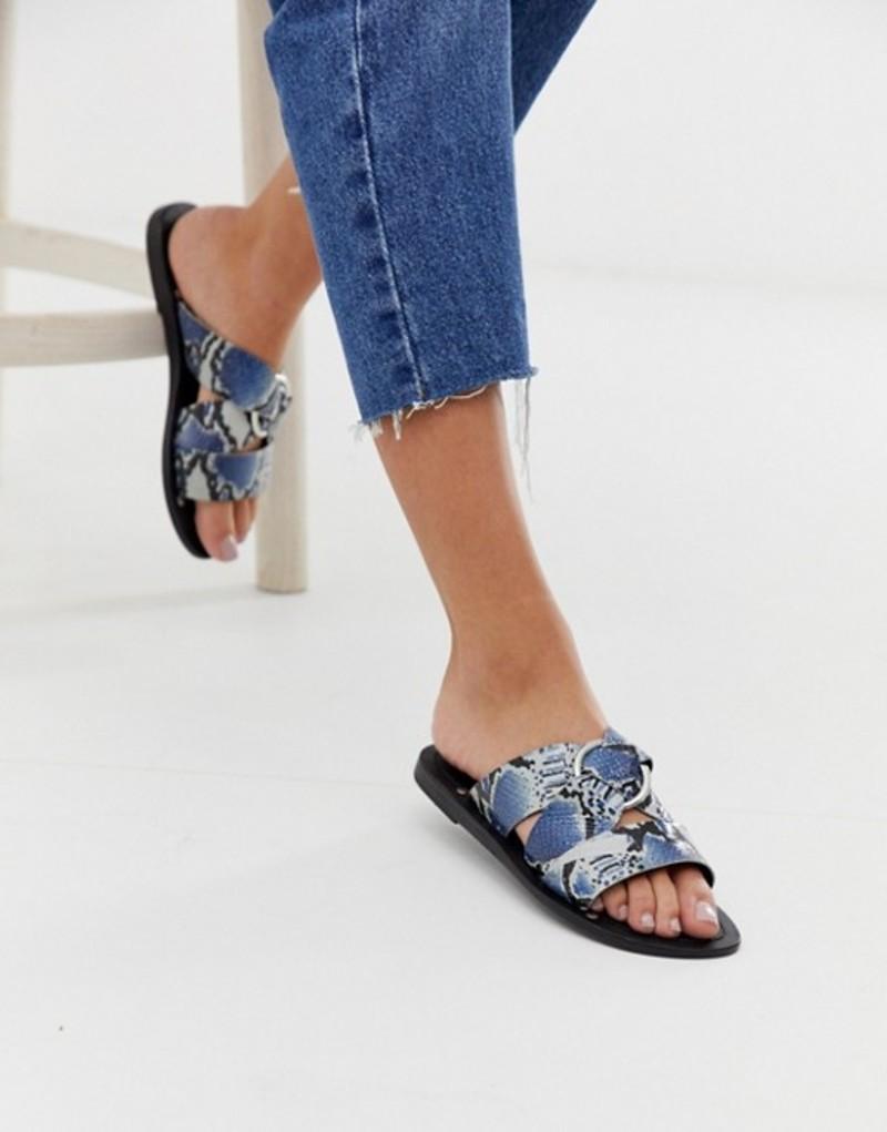 エイソス レディース サンダル シューズ ASOS DESIGN Frankie leather ring detail flat sandals in snake print Blue snake